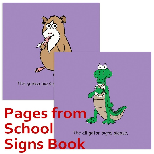 Signimalz Sign Language School Words Book and Coloring Book Set