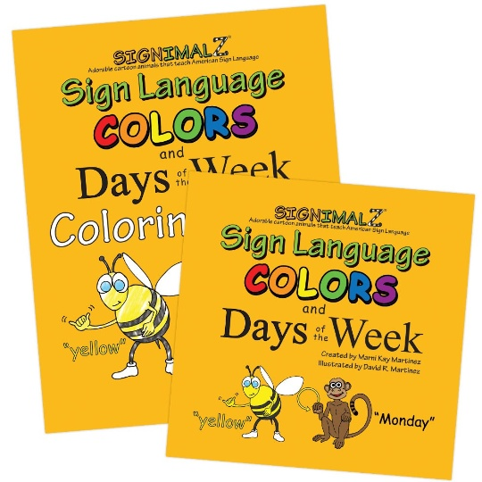 Signimalz Sign Language Colors and Days of the Week Book and Coloring Book Set