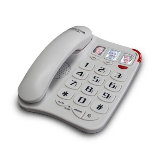 Future Call Amplified 3 Picture Phone with 2-Way Speakerphone (White)