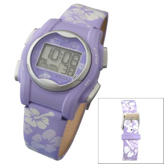 Global VibraLITE MINI Vibrating Watch with Purple Flower Band