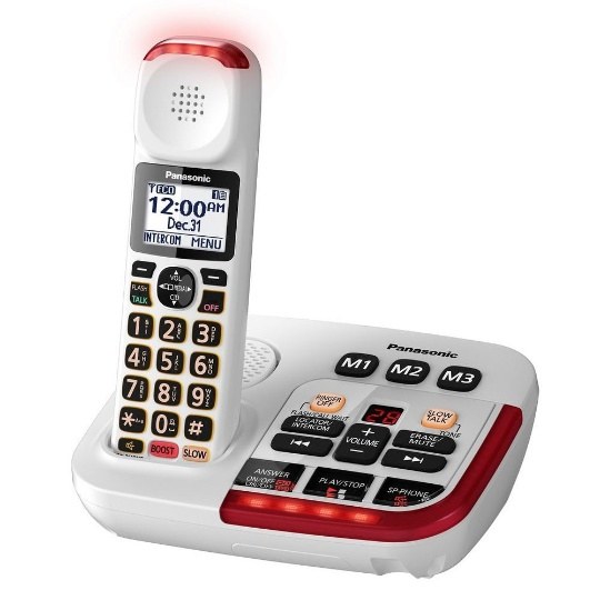 Panasonic KX-TGM420W Amplified Cordless Phone with Answering Machine and (1) Extra Handset