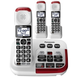 Panasonic KX-TGM420W Amplified Cordless Phone with Answering Machine and (2) Extra Handsets