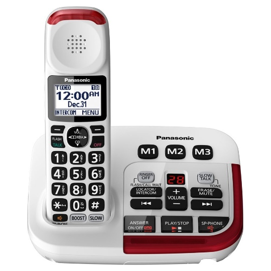 Panasonic KX-TGM420W Amplified Cordless Phone with Answering Machine and (3) Extra Handsets
