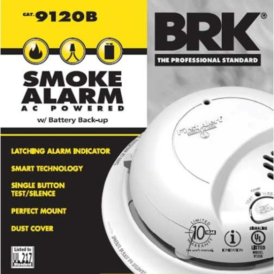 BRK Electronics 9120B Hard Wired T3 Smoke Alarm with Backup & Strobe