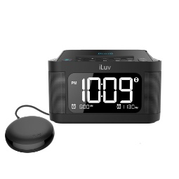 iLuv TimeShaker 6Q Wow Bluetooth LCD Dual-Alarm Clock with Qi Wireless Charging Pad and Bed Shaker