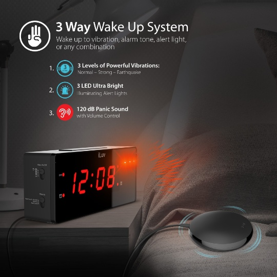 iLuv TimeShaker Wow - Loud Dual Alarm Clock with Super Vibrating Bed Shaker