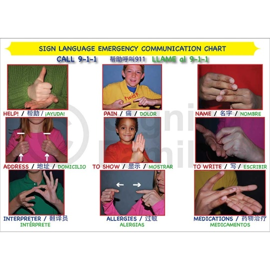 Sign Language Emergency Communication Chart