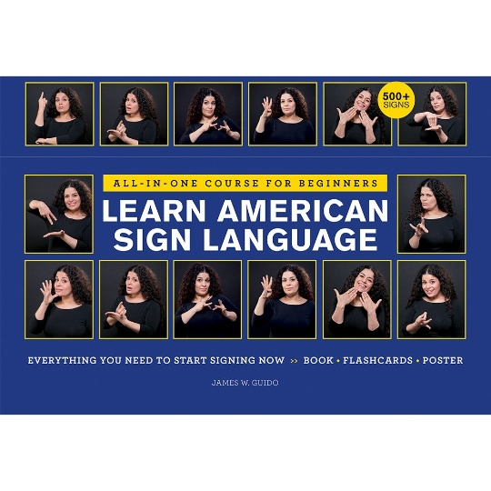 Learn American Sign Language Course with Book, Flashcards, and Poster