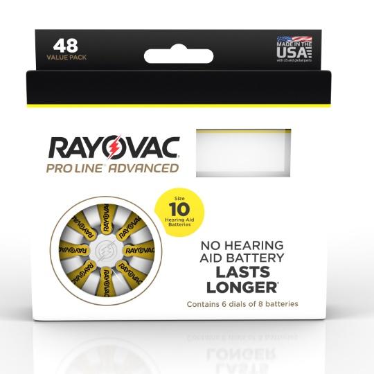 Rayovac Proline Advanced Mercury Free Hearing Aid Batteries 48 / Box Size 10