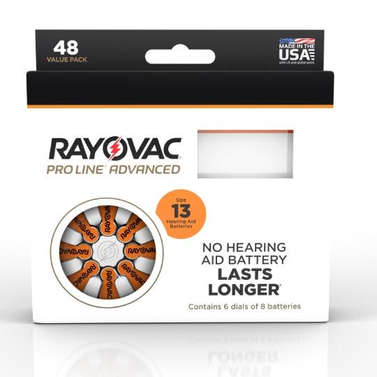 Rayovac Proline Advanced Mercury Free Hearing Aid Batteries 48 / Box Size 13