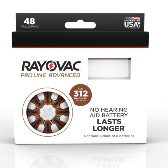 Rayovac Proline Advanced Mercury Free Hearing Aid Batteries 48 / Box Size 312