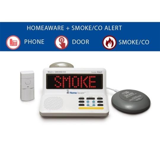 Sonic Alert HomeAware Starter Kit + (with built-in Smoke / CO listener, Doorbell, and Bed Shaker)
