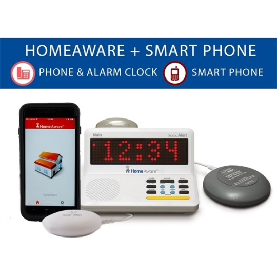 Sonic Alert HomeAware Smartphone Signaler -Wire line and Mobile phone signaler with bed shaker
