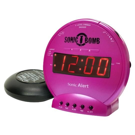 Sonic Alert Sonic Bomb SBB500ss Vibrating Alarm Clock | Pink