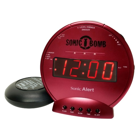 Sonic Alert Sonic Bomb SBB500ss Vibrating Alarm Clock | Red