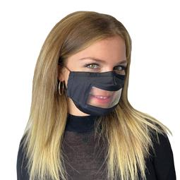 Mist Away Communication Mask with Clear, Anti-fog Window - Black