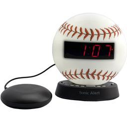 Sonic Glow SBW100BBSS Baseball Alarm Clock with Bed Shaker