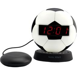 Sonic Glow SBW100SBSS Soccer Ball Alarm Clock with Bed Shaker