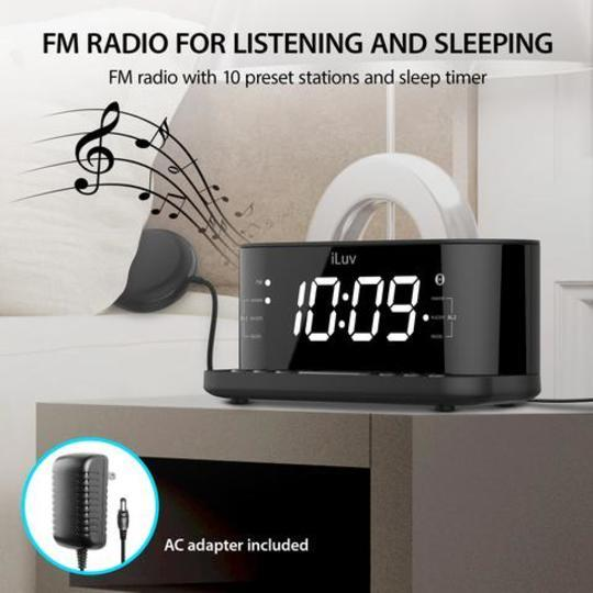 iLuv TimeShaker 5Q Wow LED Dual-Alarm Clock with Qi Wireless Charging Pad and Bed Shaker