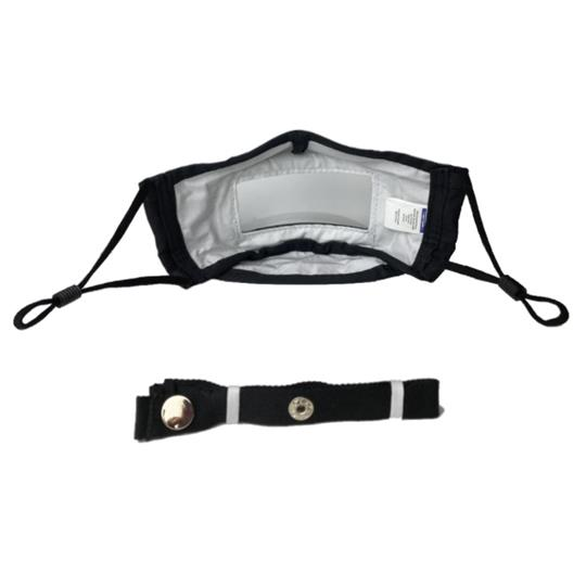 Mist Away Communication Mask with Clear, Anti-fog Window - Black