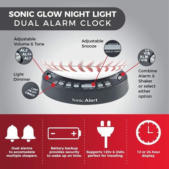 Sonic Glow SBW100BB Baseball Alarm Clock