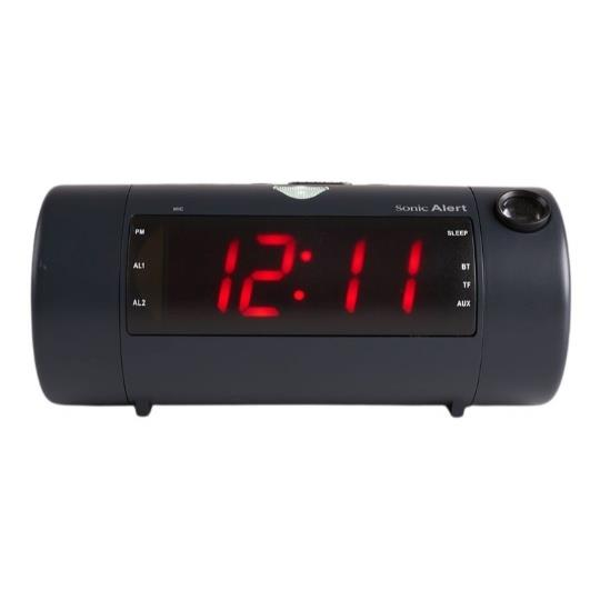 Sonic Blast Projection Dual Alarm Clock with Bluetooth Speaker
